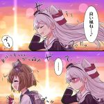 ... 2girls amatsukaze_(kantai_collection) brown_eyes brown_hair closed_eyes commentary_request eating fart grey_hair hair_tubes headgear kantai_collection long_hair multiple_girls short_hair spoken_ellipsis sunset toda_kazuki translation_request two_side_up yukikaze_(kantai_collection)