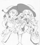 3girls arai_hiroki bag barbara_(little_witch_academia) diana_cavendish grin hanna_(little_witch_academia) hat highres little_witch_academia monochrome multiple_girls smile wand witch witch_hat