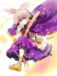 1girl artist_name blonde_hair bracelet cape earmuffs headphones jewelry pointy_hair purple_skirt ritual_baton sandals scabbard shaded_face sheath skirt smile solo sword touhou toyosatomimi_no_miko twitter_username weapon yellow_eyes yomoko