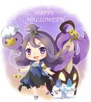 1girl :3 :d acerola_(pokemon) alternate_color armlet balloon bangs blush candle chibi dress drifloon elite_four fangs fire gourgeist hair_ornament half_updo halloween happy_halloween heart jack-o'-lantern joltik litwick looking_at_viewer momosemocha open_mouth pokemon pokemon_(creature) pokemon_(game) pokemon_sm pumpkin purple_dress purple_hair sandals shiny_pokemon short_hair silk smile solo spider spider_web standing stitches torn_clothes torn_dress twitter_username violet_eyes