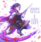 1girl boots commentary crescent_rose english iesupa petals red_cape ruby_rose rwby