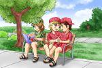 3boys baseball_cap bench blonde_hair blue_eyes brown_eyes brown_hair camouflage footsie kiss looking_at_each_other original_character park sandals shirt shorts