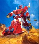 80s aircraft antennae cannon character_request clouds desert dust epic flying highres iron_gear landship mecha official_art oldschool painting production_art promotional_art realistic rock scan science_fiction sentou_mecha_xabungle size_difference tagme takani_yoshiyuki traditional_media transforming turret xabungle_(mecha)