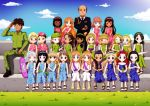 20girls 21girls 2boys 3boys 6+girls bbmbbf black_hair blonde_hair blue_eyes braid brown_eyes brown_hair camouflage dress feather green_eyes group_photo hairband hoverboard long_hair man men original_character pigtails pineapple pink_eyes ponytail princess raygun redhead rubiks_cube sandals short_hair smile sword transgender twintails woman