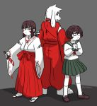 androgynous artist_name asriel_dreemurr barefoot blush_stickers brown_hair chara_(undertale) closed_eyes commentary fangs frisk_(undertale) furry grey_background hair_ribbon hands_clasped heart heart_necklace higurashi_kagome higurashi_kagome_(cosplay) inuyasha inuyasha_(character) inuyasha_(cosplay) japanese_clothes kikyou_(inuyasha) kikyou_(inuyasha)_(cosplay) kneehighs knife looking_back miko peppermintbee pleated_skirt ribbon sandals school_uniform serafuku short_hair skirt spoilers standing undertale white_hair wide_sleeves