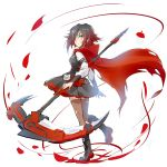 1girl boots crescent_rose highres iesupa petals red_cape ruby_rose rwby
