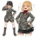 >:d 1girl :d ankle_boots black_skirt blonde_hair blue_eyes blush boots brown_boots eyebrows eyebrows_visible_through_hair fang girls_und_panzer hair_between_eyes hand_on_hip hands_on_hips helmet highres katyusha looking_at_viewer military military_uniform motion_line multiple_views norinco open_mouth red_shirt school_uniform shirt simple_background skirt smile standing translation_request turtleneck uniform white_background