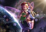 1girl american_flag_dress american_flag_legwear blonde_hair boy's_club breasts city_lights clownpiece dress earth eyebrows eyebrows_visible_through_hair fairy_wings floating frog hat highres index_finger_raised light_rays lips long_hair looking_at_viewer make_america_great_again medium_breasts neck_ruff open_mouth pepe_the_frog pink_eyes planet red_hat short_dress short_sleeves smile solo space star star_(sky) star_print striped striped_dress striped_legwear sunbeam sunlight thigh-highs touhou wings