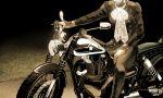 1boy blurry fungami_yuuya greyscale ground_vehicle head_out_of_frame jigizee jojo_no_kimyou_na_bouken male_focus monochrome motor_vehicle motorcycle sepia shiny sitting solo star