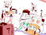 >_< 6+girls ahoge airfield_hime animal_ears apron blonde_hair blush_stickers breasts brown_hair chibi collar comic commentary_request cup dress enemy_aircraft_(kantai_collection) fake_animal_ears flailing food food_on_head green_eyes hair_between_eyes hairband horn horns huge_breasts kantai_collection large_breasts long_hair long_sleeves meatball mittens moomin mug multiple_girls muppo musical_note navel northern_water_hime object_on_head onesie open_mouth orange_eyes pasta pleated_skirt rabbit_ears red_eyes rensouhou-chan sako_(bosscoffee) seaport_hime shimakaze_(kantai_collection) shinkaisei-kan short_hair sidelocks sitting skirt sleeveless sleeveless_dress smile spaghetti spaghetti_and_meatballs submarine_new_hime television translation_request white_hair wide_sleeves yukikaze_(kantai_collection)