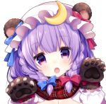 1girl animal_ears bangs bear_ears bear_paws blue_bow blunt_bangs blush bow braid chestnut_mouth crescent hair_bow hat hat_bow head_tilt long_hair long_sleeves looking_at_viewer miiiiiiii mob_cap open_mouth patchouli_knowledge plaid plaid_scarf purple_hair red_bow scarf solo teeth touhou twin_braids upper_body violet_eyes