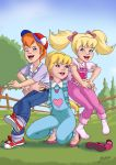 blonde_hair blue_eyes danny_williams hug laughing megan_williams molly_williams my_little_pony ponytail redhead smile tickle twintails violet_eyes