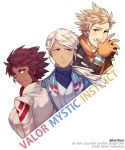 1boy 2girls androgynous blanche_(pokemon) blonde_hair blue_eyes brown_eyes candela_(pokemon) dark_skin gloves highres looking_back multiple_girls orange_gloves pokemon pokemon_go ponytail red_eyes spark_(pokemon) team_instinct team_mystic team_valor tecchen turtleneck twitter_username upper_body watermark white_hair yellow_eyes