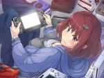 1girl boris_(noborhys) controller famicom game_console game_controller hair_ornament hairclip handheld_game_console highres hood hoodie looking_at_viewer nintendo nintendo_64 nintendo_switch original smile solo super_famicom wii wii_remote wii_u