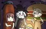 3girls anchorage_hime auburn_hair bat blonde_hair blue_eyes brown_eyes cape commentary corndog corndog_costume dated eating food ghost halloween halloween_costume hamburger hamburger_costume hamu_koutarou hat headgear highres iowa_(kantai_collection) kantai_collection multiple_girls open_mouth sailor_hat shinkaisei-kan short_hair sidelocks star star-shaped_pupils symbol-shaped_pupils white_skin witch witch_hat z3_max_schultz_(kantai_collection)