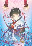 2boys black_hair closed_eyes earrings hebino_rai horikawa_kunihiro izumi-no-kami_kanesada jewelry male_focus multiple_boys out_of_frame parted_lips petals popped_collar ribbon stud_earrings sword tassel touken_ranbu wakizashi weapon