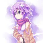 1girl bare_shoulders cyan_aeolin d-pad glasses hair_ornament highres jacket neptune_(choujigen_game_neptune) neptune_(series) purple_hair scarf short_hair solo violet_eyes