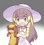 1girl angry blonde_hair clenched_teeth copying dress gradient green_eyes hat holding lillie_(pokemon) long_hair pokemon pokemon_(creature) pokemon_(game) pokemon_sm simple_background solo sukemyon sun_hat sundress teeth yungoos