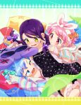 1boy 2girls :o ;d angry blue_eyes blue_hair blush bow braid bunny_hair_ornament dorothy_west feet hair_bow hair_ornament handheld_game_console headband leona_west mole mole_under_eye multiple_girls ndo2 nintendo_3ds one_eye_closed open_mouth pajamas pillow pillow_fight pink_hair pripara purple_hair short_hair smile toudou_shion trap twin_braids yellow_eyes