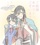 2boys ^_^ black_hair braid closed_eyes couple hand_on_another's_shoulder heart hebino_rai horikawa_kunihiro husband_and_husband izumi-no-kami_kanesada japanese_clothes jewelry male_focus multiple_boys ribbon ring side_braid touken_ranbu translation_request wedding_ring yaoi