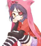 1girl animal_hood belt black_hair chain commentary_request crescent eyepatch frown hand_rest hayasaka_mirei heart hood idolmaster idolmaster_cinderella_girls lavender_skirt long_sleeves looking_at_viewer misha_(hoongju) multicolored_hair pin red_shirt redhead shirt short_sleeves simple_background sitting solo streaked_hair striped striped_legwear white_background yellow_eyes