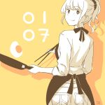 1girl apron bangs blunt_bangs chopsticks closed_mouth commentary_request dated egg_yolk eyebrows eyebrows_visible_through_hair from_behind frying_pan hair_ornament hair_scrunchie holding looking_back monochrome number original partially_colored ponytail scrunchie silhouette smile solo takasugi_yasu yellow_background