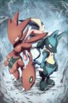 absurdres back-to-back from_above greninja highres insect_wings kicktyan long_tongue looking_at_viewer looking_back lucario no_humans perspective pokemon pokemon_(creature) red_eyes scizor slit_pupils spikes standing tongue tongue_out wings yellow_eyes