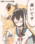 1girl anger_vein animal_ears animalization bismarck_(kantai_collection) black_hair closed_eyes collared_shirt dog dog_ears glasses hairband hat iowa_(kantai_collection) itomugi-kun kantai_collection long_hair necktie ooyodo_(kantai_collection) semi-rimless_glasses shirt smile sweatdrop translation_request