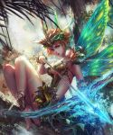 1girl antilous armlet arrow barefoot bow_(weapon) breasts cleavage fairy fairy_wings fantasy full_body green_eyes green_wings headpiece in_tree looking_at_viewer original outdoors redhead short_hair sitting solo tree weapon wings