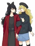 2girls beret black_sweater blake_belladonna blue_skirt bow coat commentary_request hair_bow hat multiple_girls red_coat rwby skirt sweater yang_xiao_long yuri