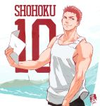 1boy alternate_hairstyle bare_shoulders biceps brown_eyes holding looking_to_the_side male_focus paper redhead sakuragi_hanamichi signature slam_dunk smile solo tank_top water watermark yoshimi