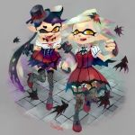 +_+ 2girls alternate_costume aori_(splatoon) bare_shoulders black_gloves black_hair cosplay domino_mask eyebrows fangs fingerless_gloves gloves hair_ornament hat hotaru_(splatoon) idolmaster lingerie long_hair looking_at_viewer mary_janes mask mole mole_under_eye multiple_girls my_dear_vampire one_eye_closed pointy_ears shoes short_hair silver_hair splatoon strappy_heels stup-jam symbol-shaped_pupils tentacle_hair tentacles thick_eyebrows tongue tongue_out underwear yellow_eyes