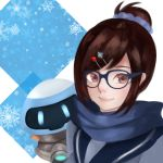 1girl absurdres bangs blue-framed_eyewear blue_jacket brown_eyes brown_hair closed_mouth drone eyelashes floating glasses hair_bun hair_ornament hair_scrunchie hairpin hanamizake highres jacket long_sleeves looking_at_viewer machinery mei_(overwatch) overwatch pink_lips robot scarf scrunchie sidelocks snowball_(overwatch) snowflake_hair_ornament solo swept_bangs upper_body