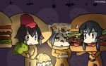 /\/\/\ 3girls bat black_hair broccoli commentary_request dated food ghost hair_ornament hairclip halloween hamburger hamburger_costume hamu_koutarou hayasui_(kantai_collection) highres kantai_collection kuroshio_(kantai_collection) multiple_girls omelet omelet_costume sidelocks sweat takoyaki takoyaki_costume yahagi_(kantai_collection)