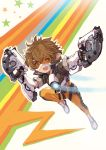 1girl :d bangs blackball bodysuit brown_eyes brown_gloves brown_hair brown_jacket cosplay cropped_jacket dual_wielding gloves goggles granblue_fantasy gun hair_between_eyes harbin holding holding_gun holding_weapon open_mouth outline overwatch pointy_ears shoes short_hair short_sleeves sierokarte simple_background smile solo star tracer_(overwatch) tracer_(overwatch)_(cosplay) weapon white_background white_shoes