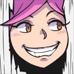 1girl akairiot doubutsu_no_mori here's_johnny! lowres pink_hair short_hair smile solo super_smash_bros. the_shining villager_(doubutsu_no_mori)