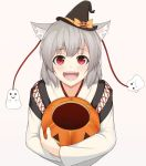 1girl :d animal_ears black_hat blush bow detached_sleeves empty fangs ghost grey_hair halloween hat hat_bow inubashiri_momiji jack-o'-lantern long_sleeves looking_at_viewer open_mouth orange_bow ozu_(agito100001) pink_background red_eyes short_hair silver_hair simple_background smile solo touhou upper_body wavy_mouth witch_hat wolf_ears