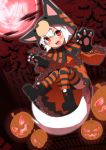 absurdres animal_costume bat boots castellation clouds cloudy_sky cross dress fence floating full_moon gloves highres hood inubashiri_momiji kedama komugicha_(mugimugi-shiki) leaf leather leather_boots mansion maple_leaf moon night paw_gloves pumpkin railing red_eyes red_moon red_sky silver_hair sky stone_building strap tagme thigh-highs tiger_costume tiger_print tombstone touhou tower tree white_hair window