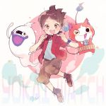 >_o 1boy amano_keita blush brown_hair cat character_name copyright_name fang ghost haramaki jacket jibanyan kouhara_yuyu multiple_tails notched_ear one_eye_closed open_clothes open_jacket open_mouth red_jacket short_hair tail two_tails watch watch whisper_(youkai_watch) youkai youkai_watch youkai_watch_(object)