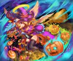 1girl ankle_boots basket black_boots black_legwear blonde_hair body_blush boots cape character_request checkerboard_cookie cookie corset food full_body glowing glowing_eyes grin halo hand_on_headwear hat hei_niao highres jack-o'-lantern long_hair looking_away looking_to_the_side monster_strike one_eye_closed outstretched_arm smile solo thigh-highs violet_eyes white_wings wings witch witch_hat wrist_cuffs