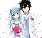 1boy 1girl black_eyes black_hair blue_hair bouquet breasts bridal_veil cleavage dress fairy_tail flower gray_fullbuster hand_on_another's_shoulder jewelry juvia_lockser large_breasts long_hair necklace petals rose_petals smile strapless strapless_dress tuxedo veil wedding_dress white_dress yue_(pixiv4635680)