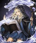 1girl belt blonde_hair blue_skirt book cloak cowboy_shot frills highres holding holding_staff jchoy long_hair long_sleeves magic open_book open_mouth original pleated_skirt skirt solid_circle_eyes solid_oval_eyes solo staff water_dragon wide_sleeves witch yellow_eyes