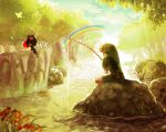fishing hat link midna nature pointy_ears rainbow river sitting sunrise the_legend_of_zelda twilight_princess water yumeshima_sui
