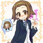 brown_eyes brown_hair grin hairband halo_(artist) imagining k-on! school_uniform short_hair smile solo tainaka_ritsu tomboy translated translation_request