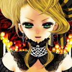 bad_id blonde_hair chino_machiko close-up cross dress earrings green_eyes hair_ribbon jewelry kagamine_rin ribbon smile victorian vocaloid