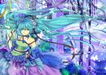 1girl alternate_costume aqua_eyes aqua_hair blue_rose butterfly choker flower fountain hair_ribbon harp hatsune_miku highres hongmao instrument lolita_fashion long_hair plant ribbon rose solo twintails very_long_hair vocaloid wind