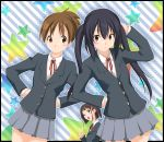 akaho_sakura azusa's_friend azusa's_friend bad_id beniho_sakura black_hair brown_eyes brown_hair extra hirasawa_ui k-on! long_hair multiple_girls nakano_azusa ribbon school_uniform short_hair symmetry twintails