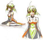 amenon bare_shoulders detached_sleeves ema_non fl-chan fl_studio green_hair lowres open_mouth orange_eyes piano_print sketch smile