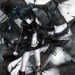 black_rock_shooter_(character) checkerboard checkered highres solo twintails weapon yato