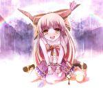chains horns ibuki_suika long_hair non_(nobu) rain rainbow sitting touhou wrist_cuffs yellow_eyes
